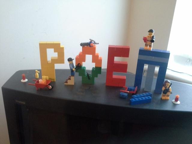 Photo of Lego poem under construction