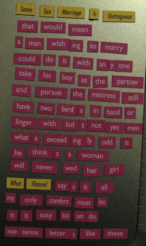 photo of poem made up of word magnets
