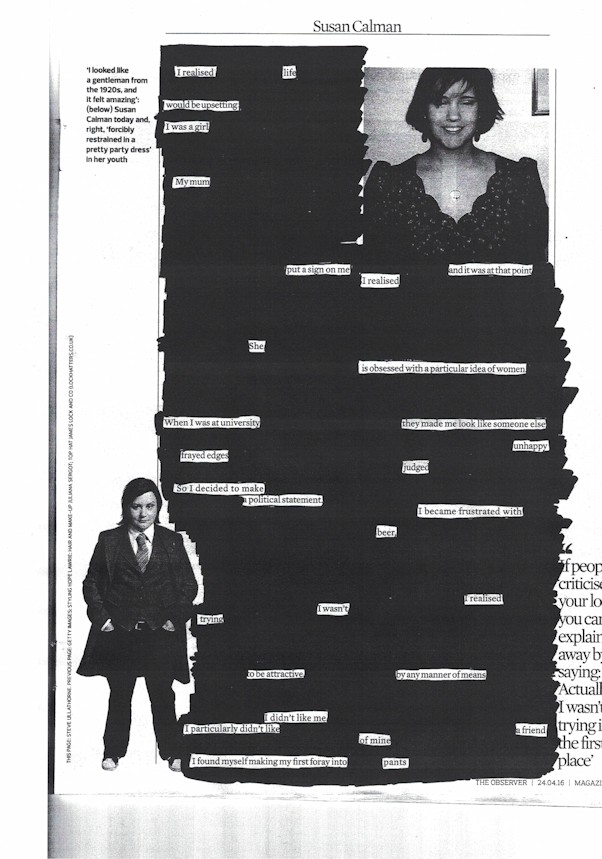 A newspaper blackout poem by Nicki Hastie from an article by Susan Calman