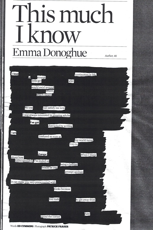 Newspaper blackout poem from interview with Emma Donoghue